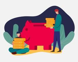 Geschäftsmann, der Geld in Sparschweinillustration im flachen Stil spart vektor