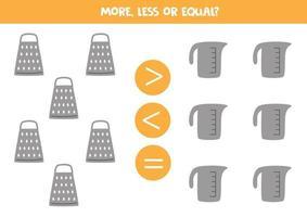 mehr weniger gleich mit Küchenreibe und Messbecher Mathe Vergleich vektor