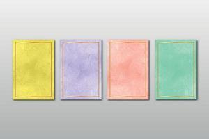 uppsättning kreativa minimalistiska handmålade bröllopsinbjudan med abstrakt akvarell konst bakgrund vektor