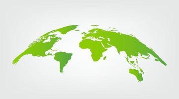 grüner Vektor der Weltkarte lokalisiert auf weißem Hintergrund