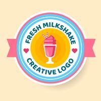 Milchshake Logo Abzeichen Stil Vektor