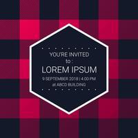 Trendiga Lumberjack Pattern Party Invitation Design Mall vektor