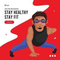 Banner Design von gesund bleiben und fit bleiben vektor
