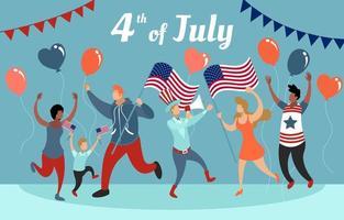 4. Juli Unabhängigkeitstag Feste Wohnung Konzept vektor
