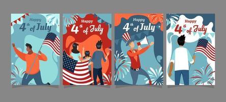 viertens Juli Festkarten-Konzept vektor