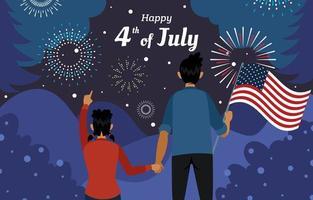 Vater und Tochter schauen sich am 4. Juli nachts das Feuerwerk an vektor