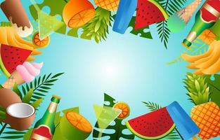 tropisches Sommernahrungsmittel-, Getränke- und Obsthintergrundkonzept vektor
