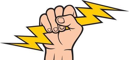 Hand hält Blitz vektor