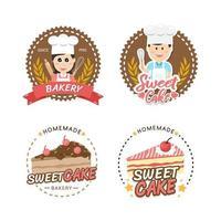 Design für süße Bäckerei und Brotetiketten für Süßwarenladen vektor