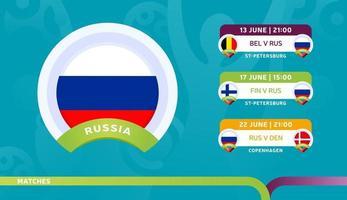 Russland Nationalmannschaft Zeitplan Spiele in der Endphase bei der 2020 Fußball-Meisterschaft Vektor-Illustration von Fußball 2020 Spiele vektor