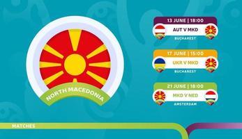 Nordmazedonische Nationalmannschaft plant Spiele in der Endphase der Fußballmeisterschaft 2020 vektor