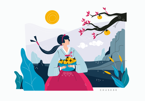 Nettes Mädchen, das koreanischen Ernte-Festival-Vektor-flachen Illustrations-Hintergrund feiert vektor