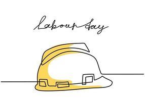 frohen Tag der Arbeit. eine durchgehende Strichzeichnung des gelben Schutzhelms mit Beschriftungsarbeitstag. Sicherheit harter Bauhutikone minimalistischer Hintergrund, Fahne, Plakat. Vektorillustration vektor