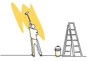 kontinuierliche einzeilige Zeichnung eines jungen Handwerkers, der die Wand mit einem Rollenstab malt. Maler Wandrenovierung Service-Konzept. Vektorhausrenovierungsthema lokalisiert auf weißem Hintergrund vektor