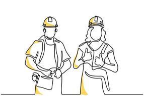 eine durchgehende Strichzeichnung des jungen Mannes und der Frau, die Schutzhelm tragen. junge glückliche männliche und weibliche Bauherrengruppen, die Helm tragen, während sie stehen. tolles Teamarbeitskonzept vektor