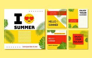 Sommer Social Media Post Sammlung vektor