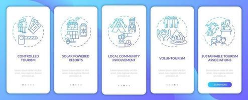 Beste nachhaltige Tourismuspraktiken Onboarding App-Seitenbildschirm mit Konzepten vektor