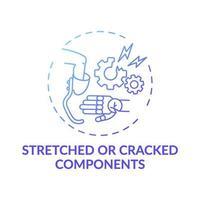 Konzeptikone für gedehnte und rissige Komponenten vektor