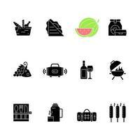 schwarze Glyphensymbole des Picknicks setzen auf Leerraum vektor