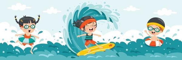 glückliche Zeichentrickfiguren im Urlaub vektor
