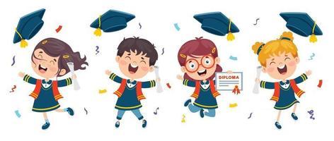 Cartoon glückliches Kind im Abschlusskostüm vektor