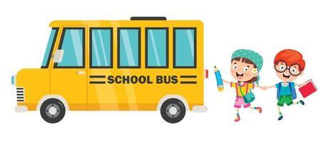 glada barn och skolbuss vektor