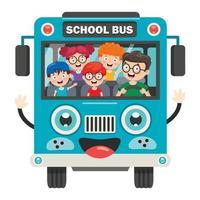 glückliche Kinder und Schulbus vektor