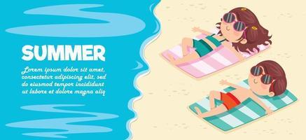 Zeichentrickfigur Sonnenbaden am Strand vektor