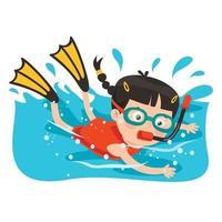 kleine Zeichentrickfigur, die im Ozean taucht vektor