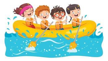 Gruppe kleiner Kinder Rafting vektor