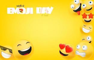 Welt-Emoji-Tagesgrußkarte mit Kopienraum vektor