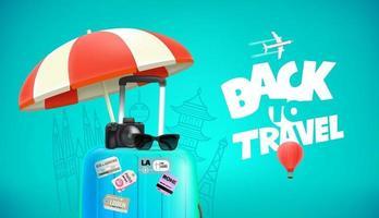 Reisetasche mit Aufklebern Digitalkamera und Sonnenbrille vektor