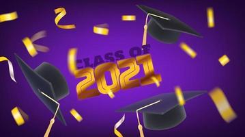 Klasse von 2021 fliegenden Konfetti und Abschlusskappen vektor