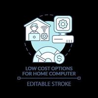 kostengünstige Optionen für Heimcomputer Türkis Konzept Symbol vektor