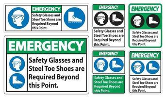 Darüber hinaus sind eine Notfallschutzbrille und Stahlkappenschuhe erforderlich vektor