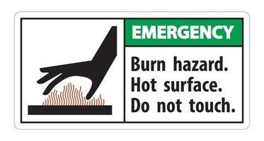 Notfall Verbrennungsgefahr heiße Oberfläche berühren nicht Symbol Zeichen isolieren auf weißem Hintergrund vektor