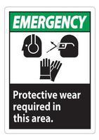 Notfallschild tragen in diesem Bereich Schutzausrüstung mit PPE-Symbolen vektor