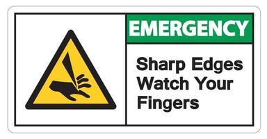 Notfall scharfe Kanten beobachten Ihre Finger Symbol Zeichen auf weißem Hintergrund vektor