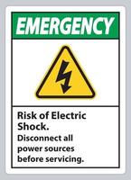Notfallrisiko des elektrischen Schlag Symbolzeichen isolieren auf weißem Hintergrund vektor