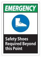 Sicherheitsschuhe für Notschilder sind über diesen Punkt hinaus erforderlich vektor