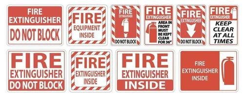 Stellen Sie das Etikett Feuerlöscherzeichen auf weißem Hintergrund ein vektor