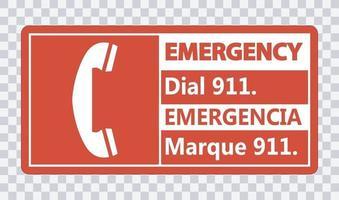 zweisprachiges Notruf 911 Zeichen auf transparentem Hintergrund vektor