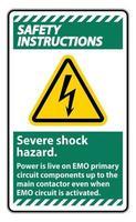 Sicherheitshinweise Zeichen für schweren Stromschlag auf weißem Hintergrund vektor