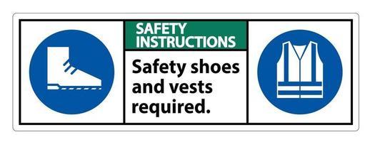 Sicherheitshinweise unterschreiben Sicherheitsschuhe und Weste mit ppe erforderlich vektor
