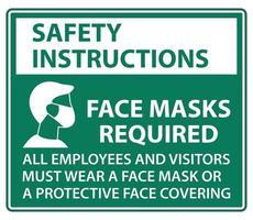 Sicherheitshinweise Gesichtsmasken erforderlich Zeichen auf weißem Hintergrund vektor