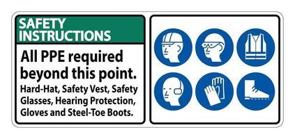 Sicherheitshinweise ppe über diesen Punkt hinaus erforderlich Schutzhelm Schutzweste Schutzbrille Gehörschutz vektor