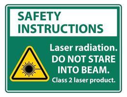 Sicherheitshinweise Laserstrahlung starren nicht in das Laserprodukt der Strahlklasse 2 vektor