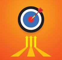 Pfeil trifft das Ziel und das Zielkonzept vektor