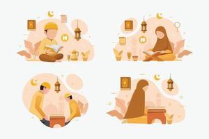 Satz von muslimischen Menschen, die das islamische heilige Buch des Korans lesen und lernen vektor