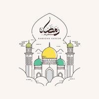 Arabische Kalligraphie des Ramadan Kareem mit Moscheenlinienkunstentwurf vektor